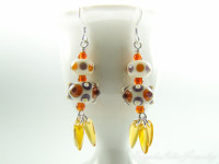 Stearling silver earrings with two lampwork beads and czech pressed bead drops